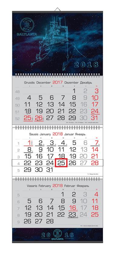3 dalių kalendoriai su intarpais