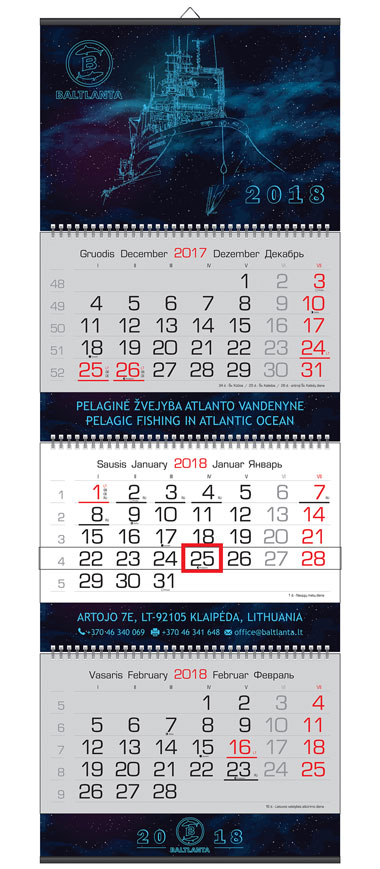 3 dalių kalendoriai su 3 intarpais
